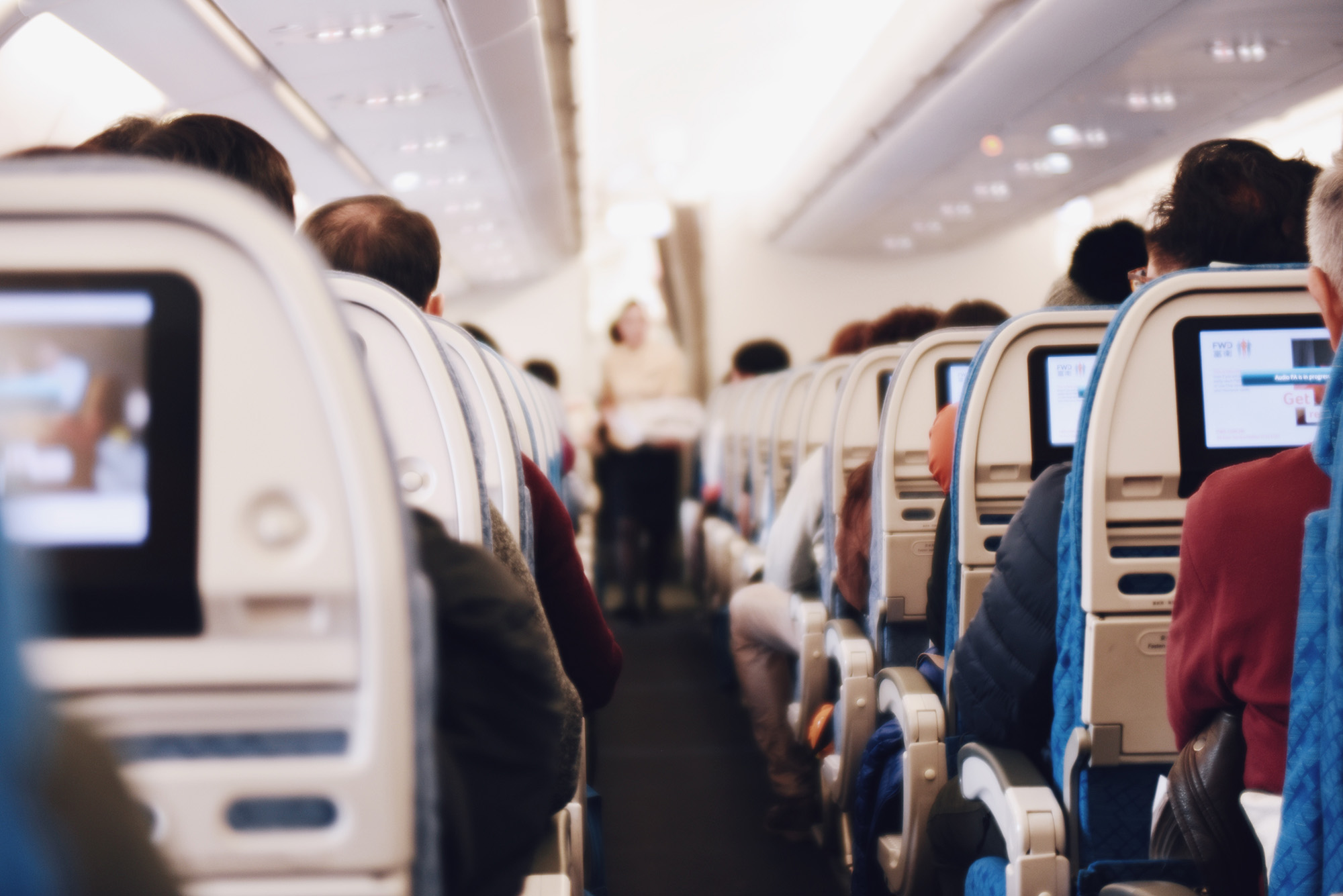 Rows of airline passenger seats